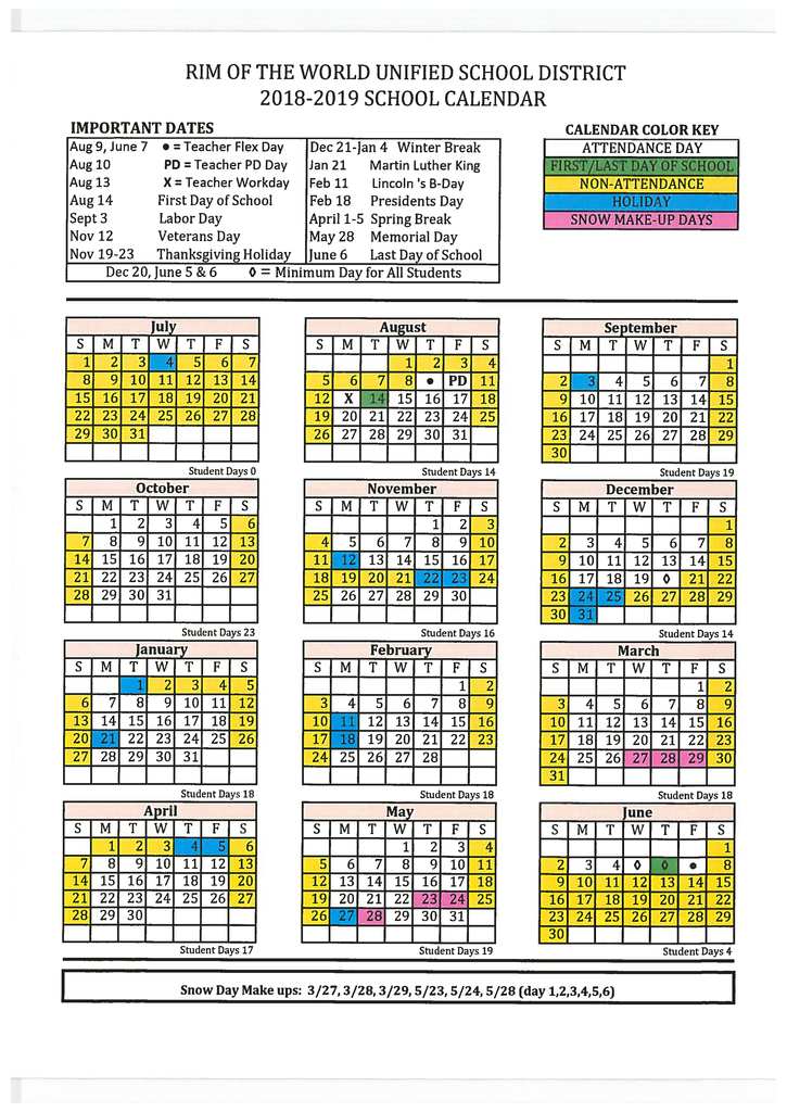 2018-2020 District Calendars