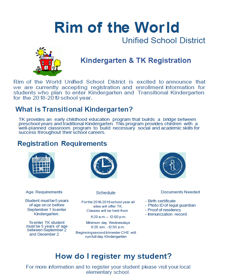 Kindergarten & Transitional Kindergarten Information